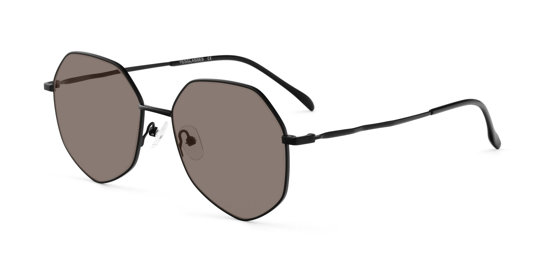 Angle of Sunshine in Black with Medium Brown Tinted Lenses