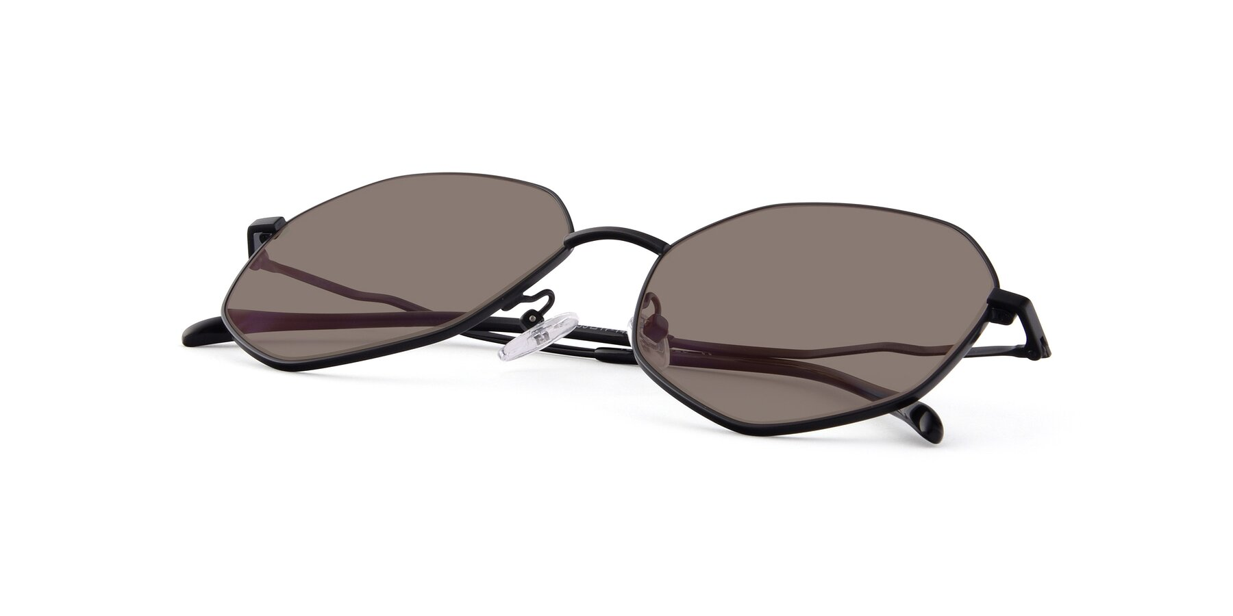 View of Sunshine in Black with Medium Brown Tinted Lenses