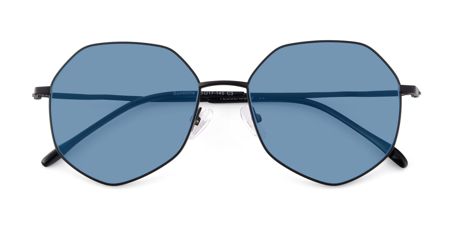 Folded Front of Sunshine in Black with Medium Blue Tinted Lenses