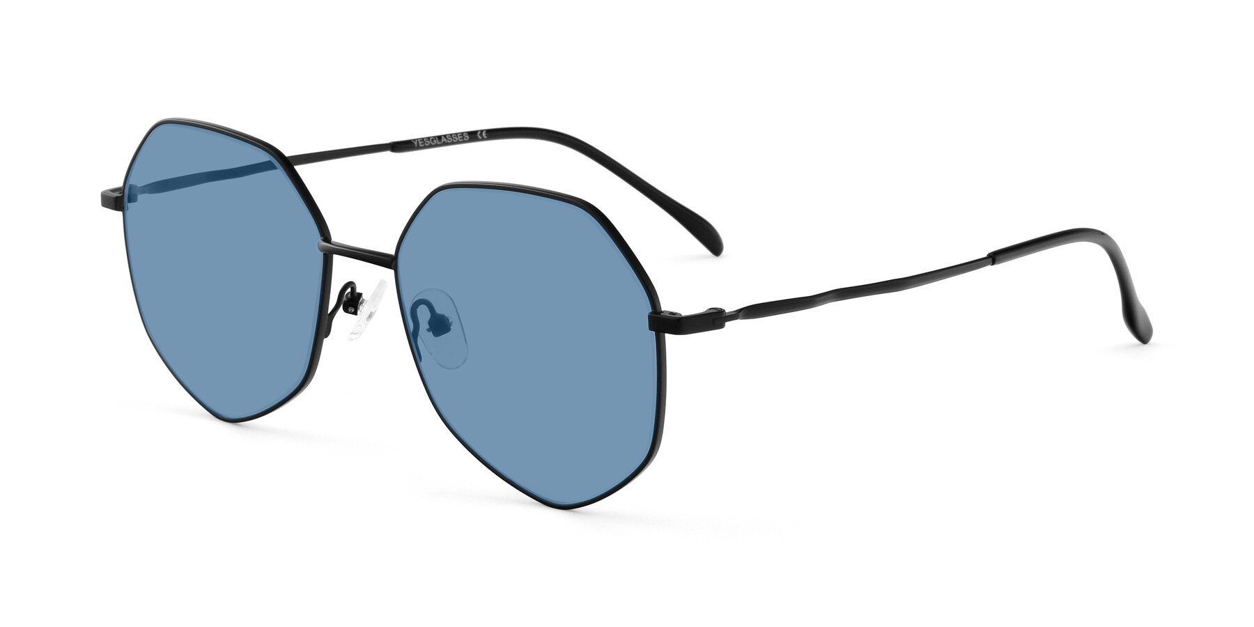 Angle of Sunshine in Black with Medium Blue Tinted Lenses