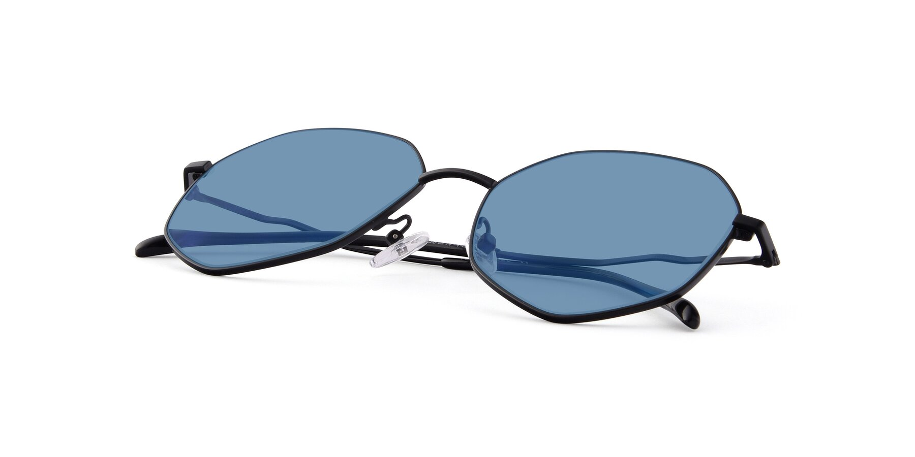 View of Sunshine in Black with Medium Blue Tinted Lenses