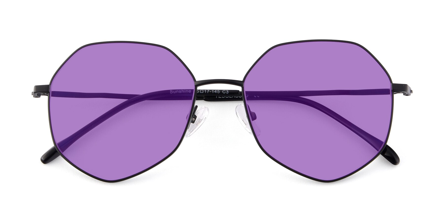 Folded Front of Sunshine in Black with Medium Purple Tinted Lenses