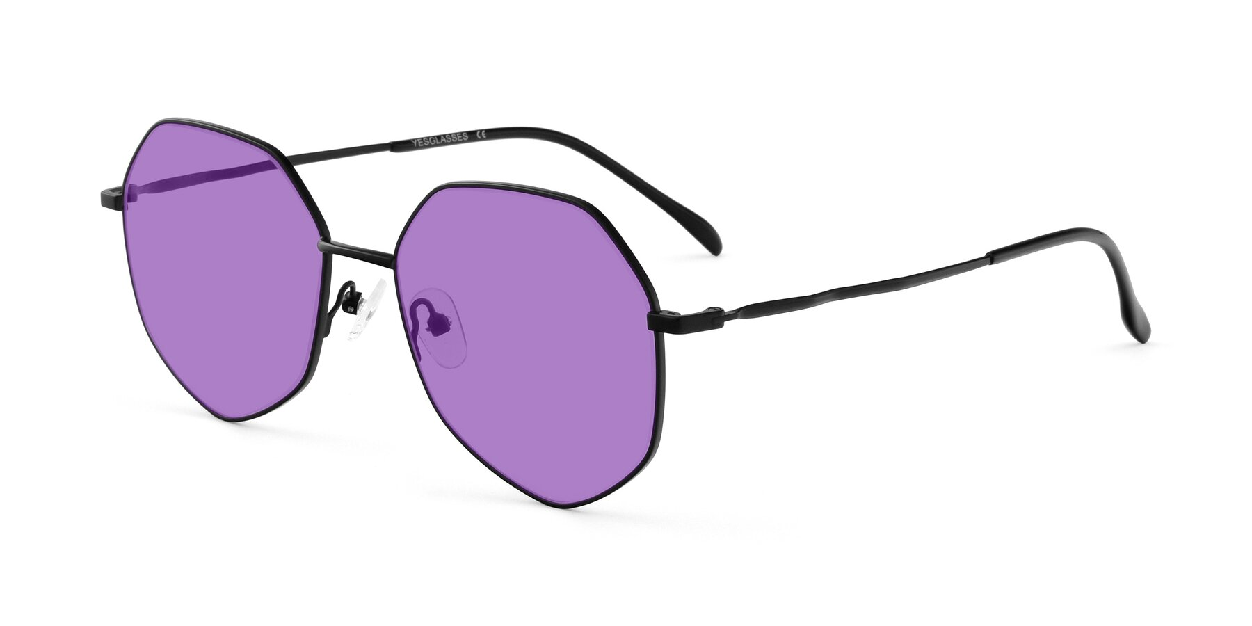 Angle of Sunshine in Black with Medium Purple Tinted Lenses