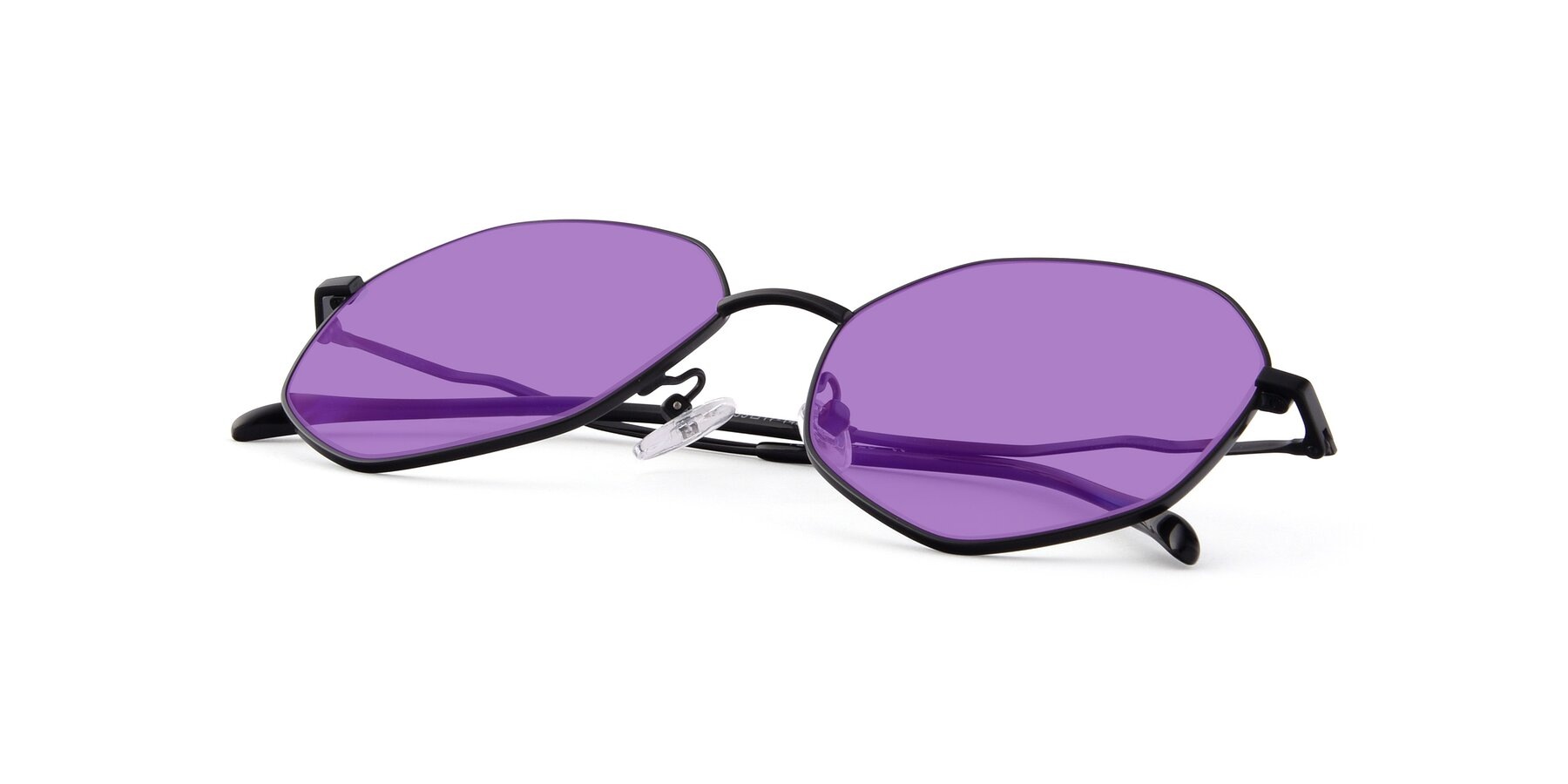 View of Sunshine in Black with Medium Purple Tinted Lenses
