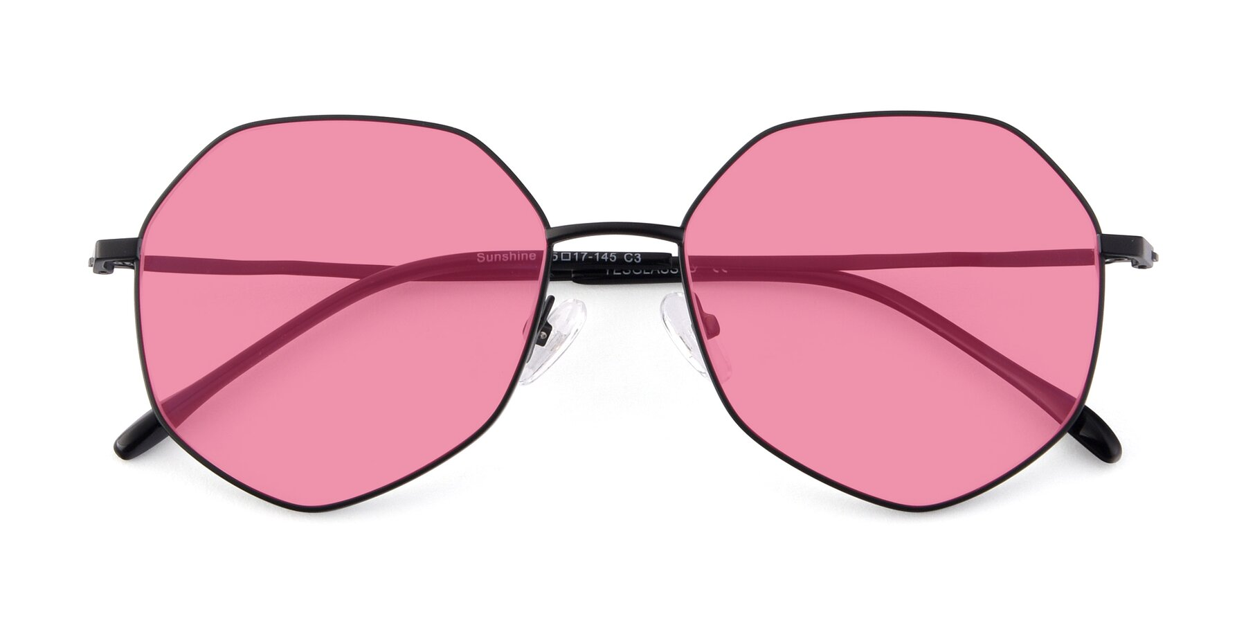 Folded Front of Sunshine in Black with Pink Tinted Lenses