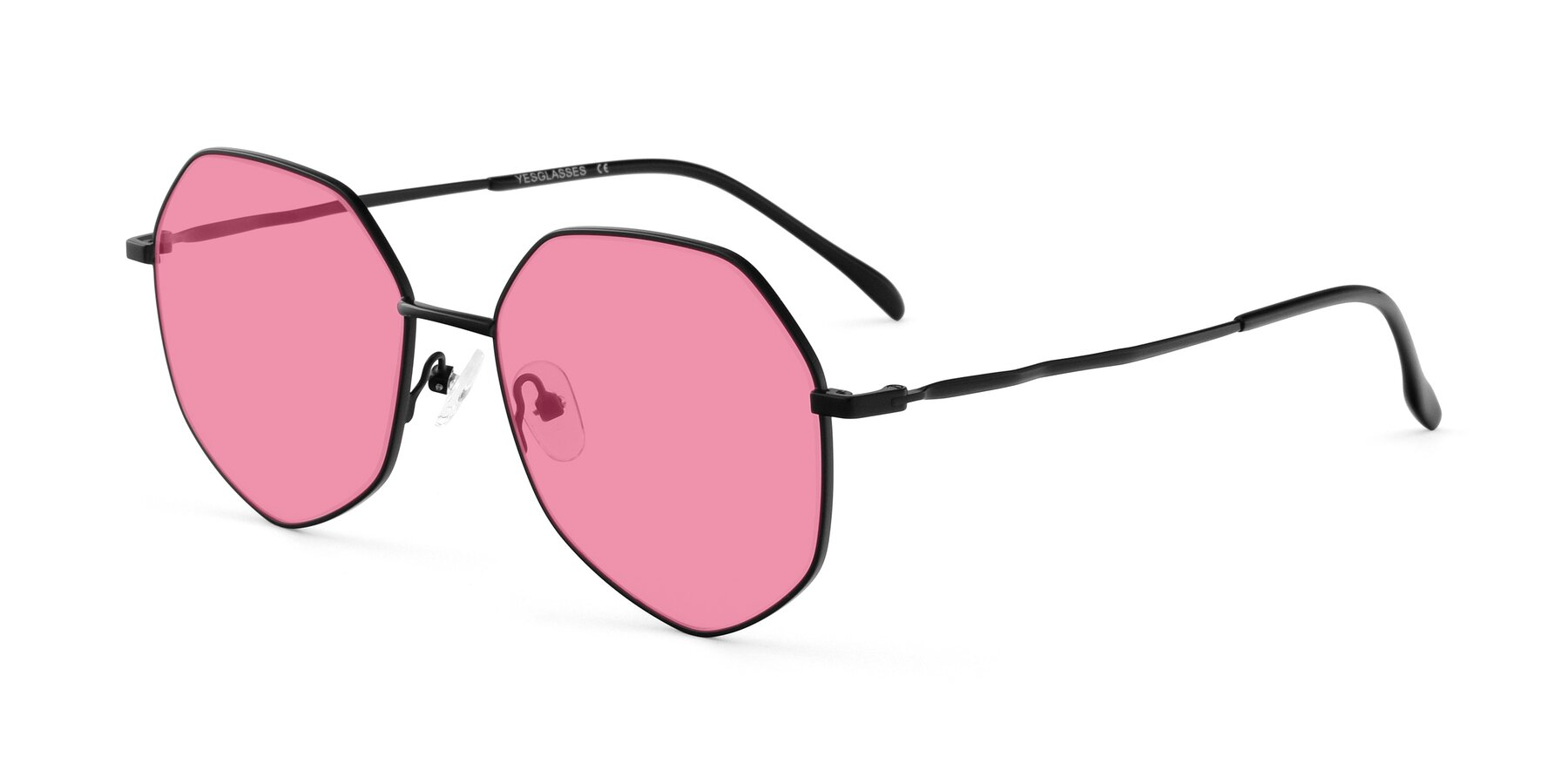 Angle of Sunshine in Black with Pink Tinted Lenses