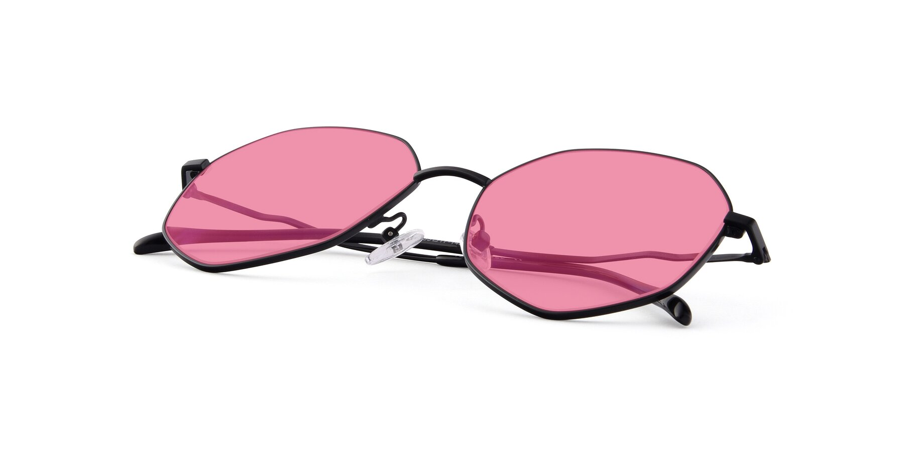 View of Sunshine in Black with Pink Tinted Lenses