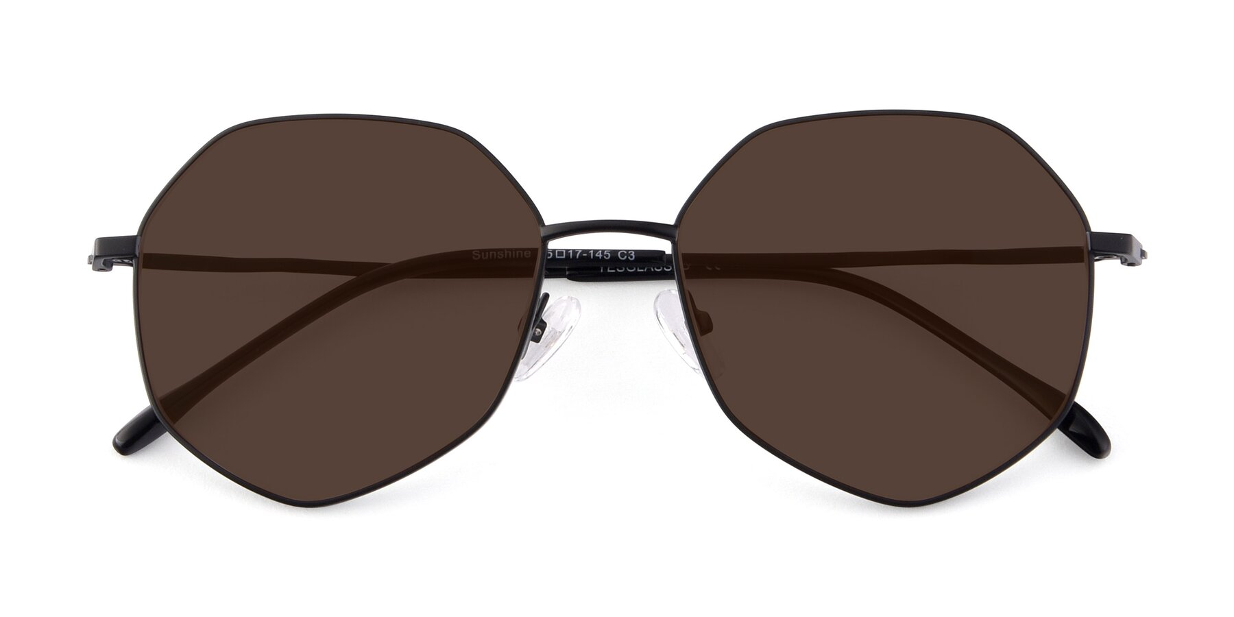 Folded Front of Sunshine in Black with Brown Tinted Lenses