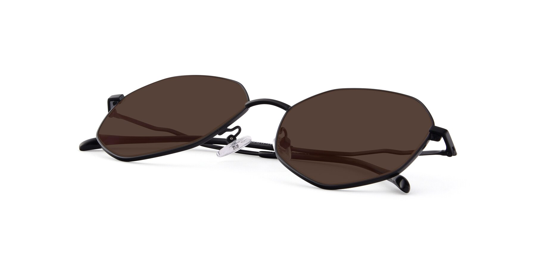 View of Sunshine in Black with Brown Tinted Lenses