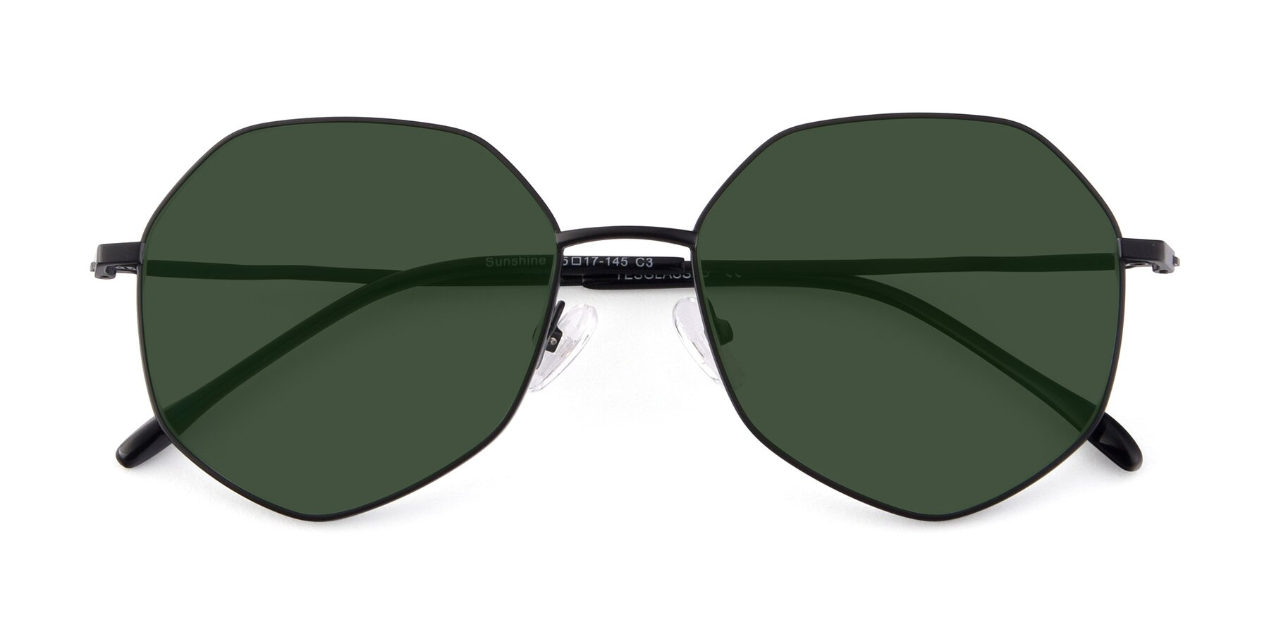 Folded Front of Sunshine in Black with Green Tinted Lenses