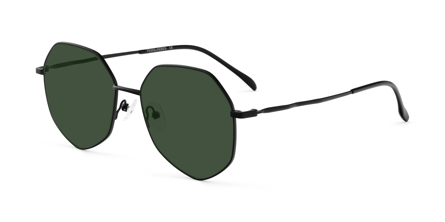 Angle of Sunshine in Black with Green Tinted Lenses