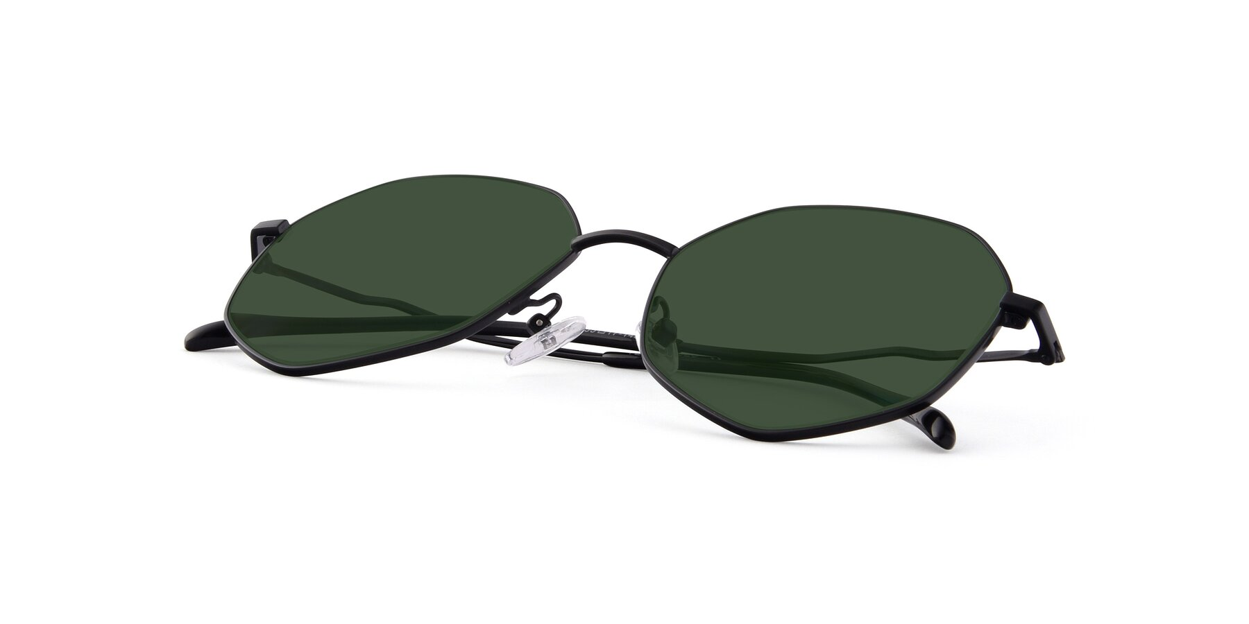 View of Sunshine in Black with Green Tinted Lenses