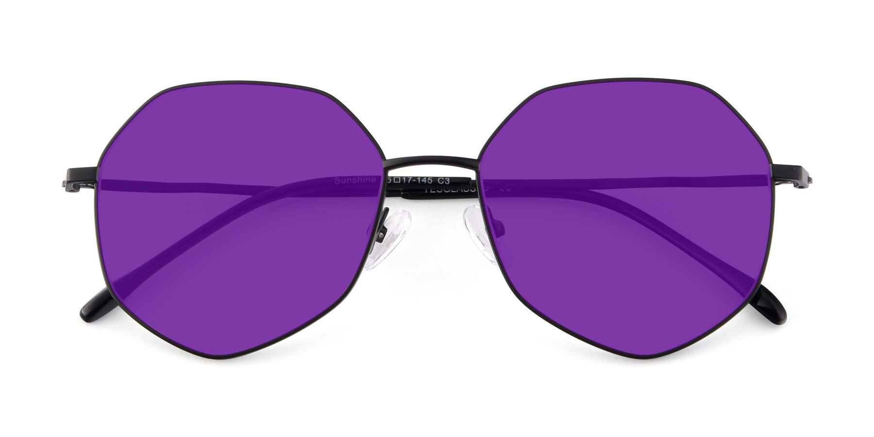 Folded Front of Sunshine in Black with Purple Tinted Lenses