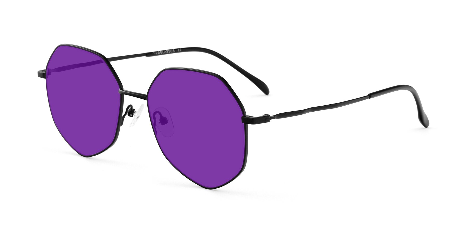 Angle of Sunshine in Black with Purple Tinted Lenses