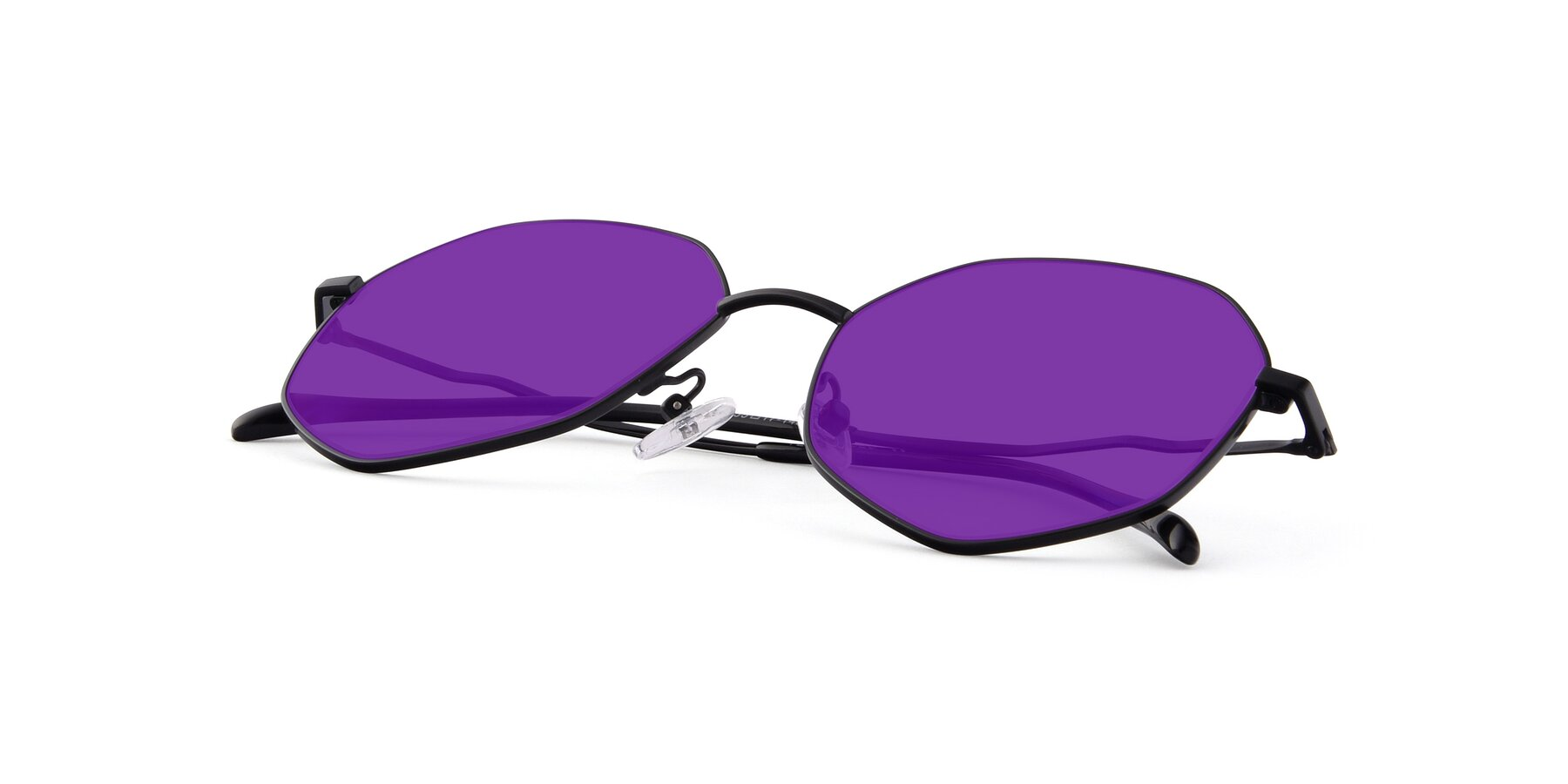 View of Sunshine in Black with Purple Tinted Lenses