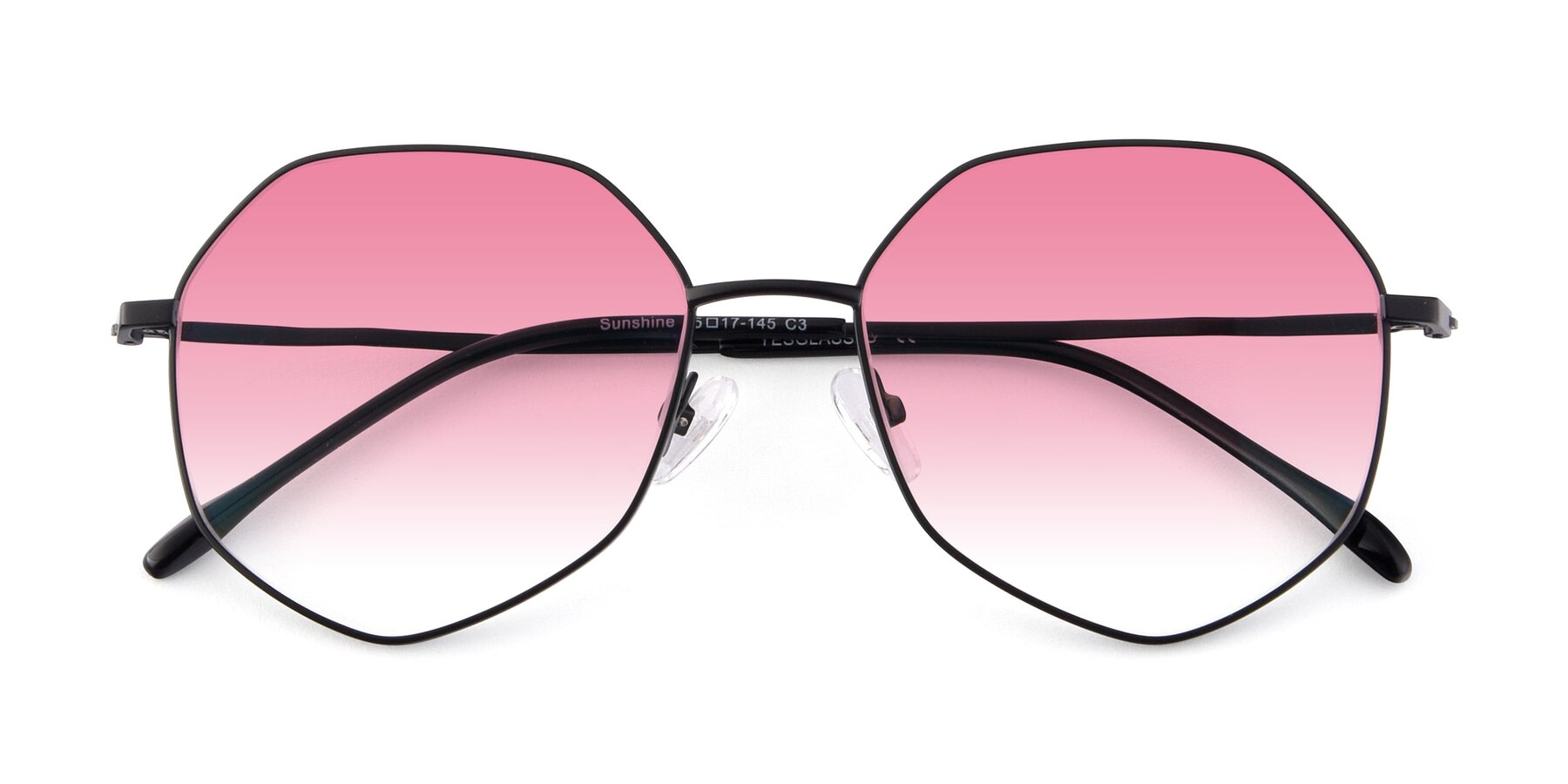 Folded Front of Sunshine in Black with Pink Gradient Lenses