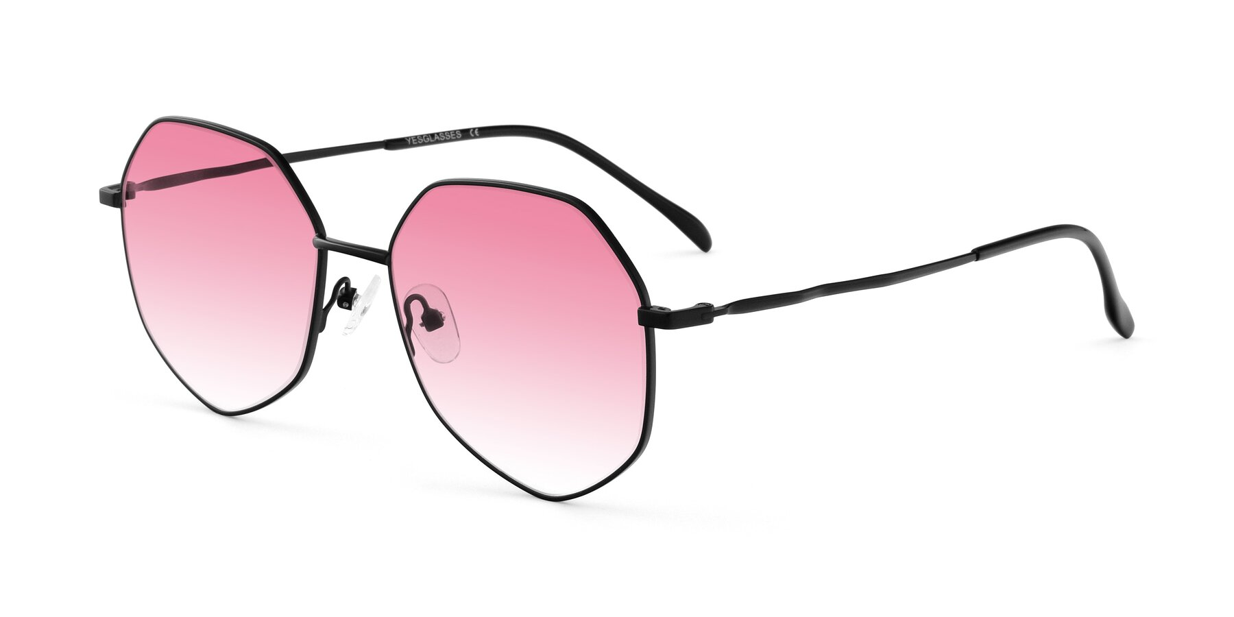 Angle of Sunshine in Black with Pink Gradient Lenses