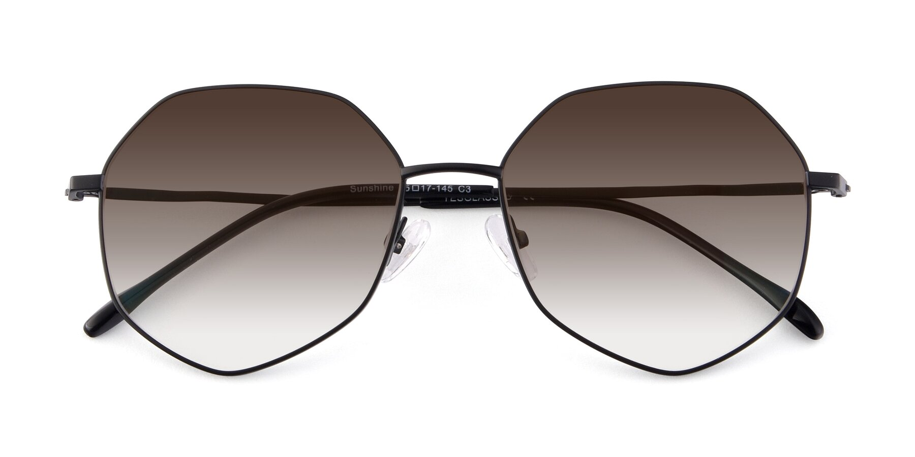 Folded Front of Sunshine in Black with Brown Gradient Lenses