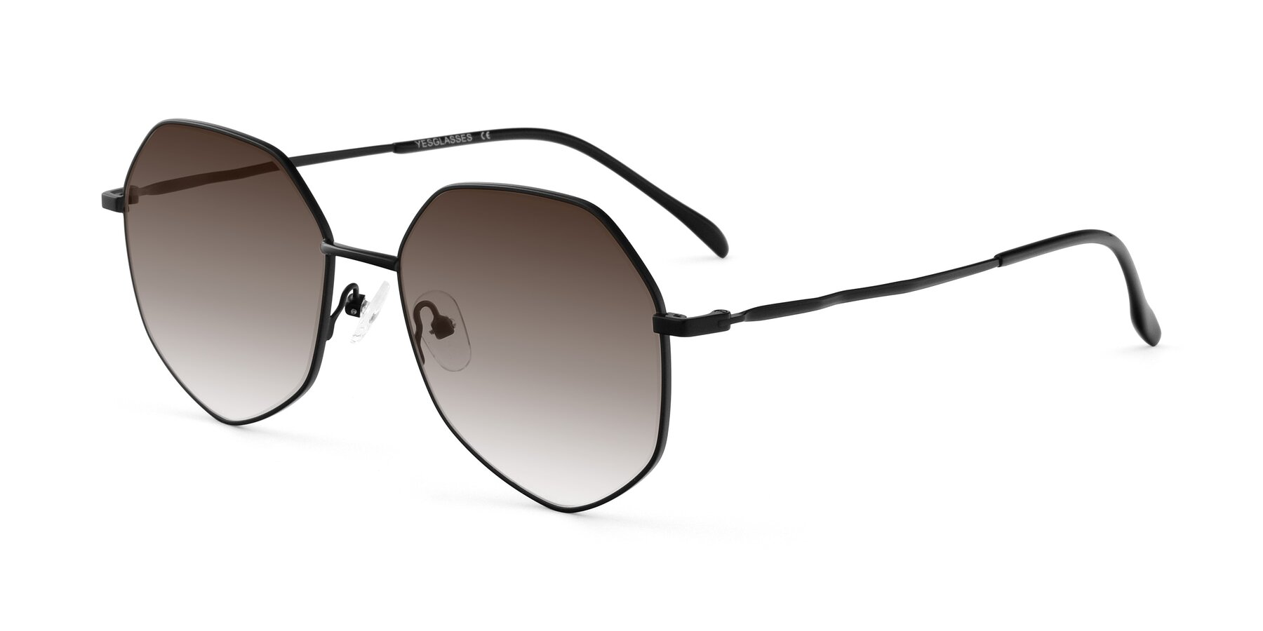Angle of Sunshine in Black with Brown Gradient Lenses