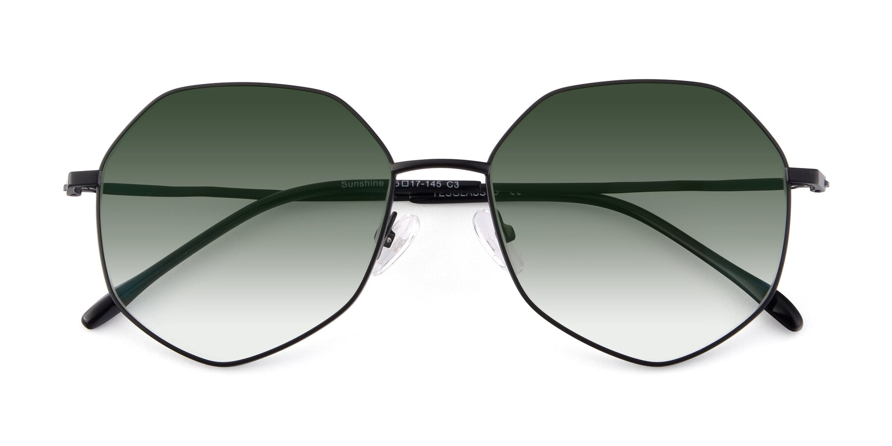 Folded Front of Sunshine in Black with Green Gradient Lenses