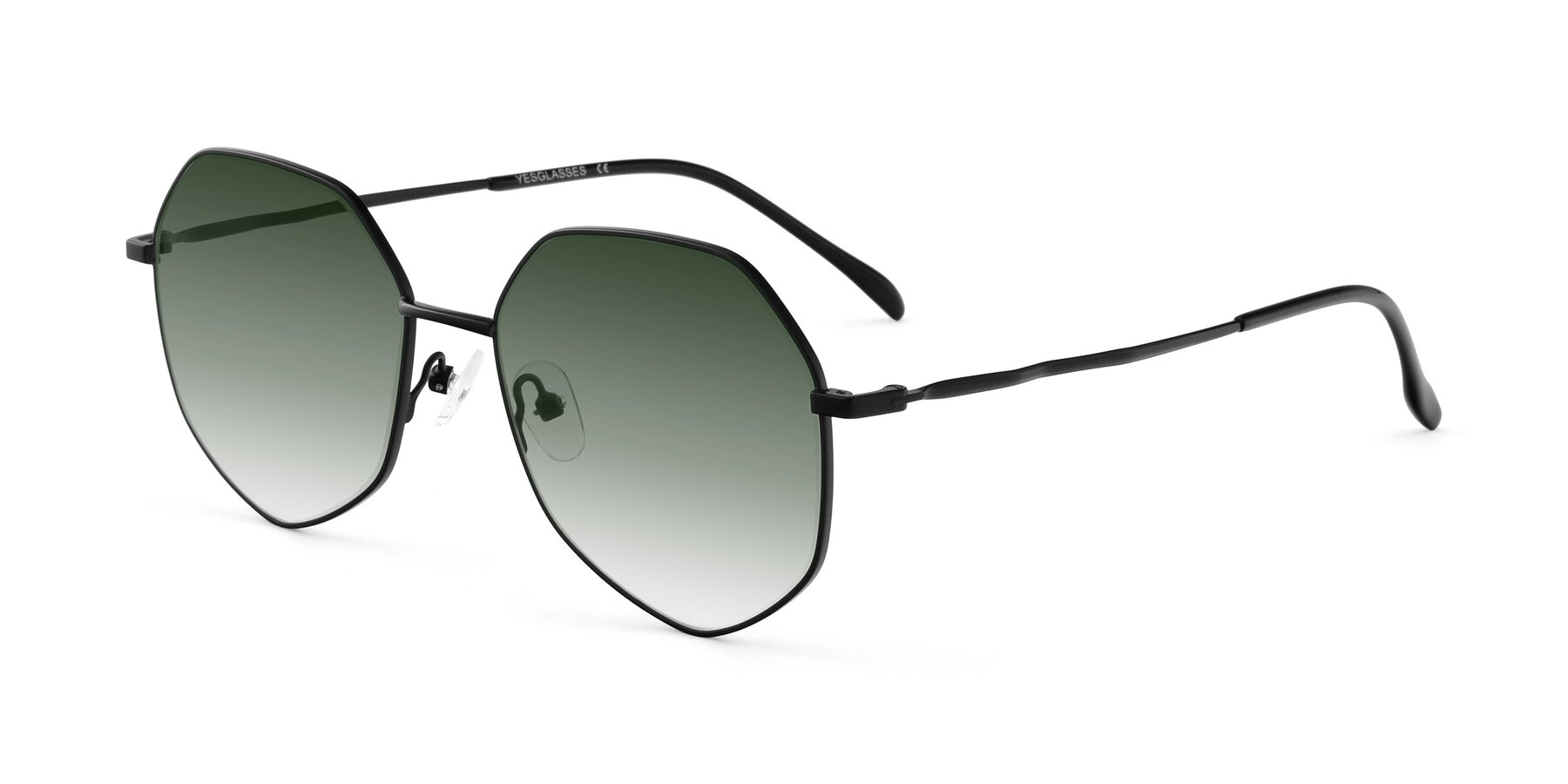 Angle of Sunshine in Black with Green Gradient Lenses
