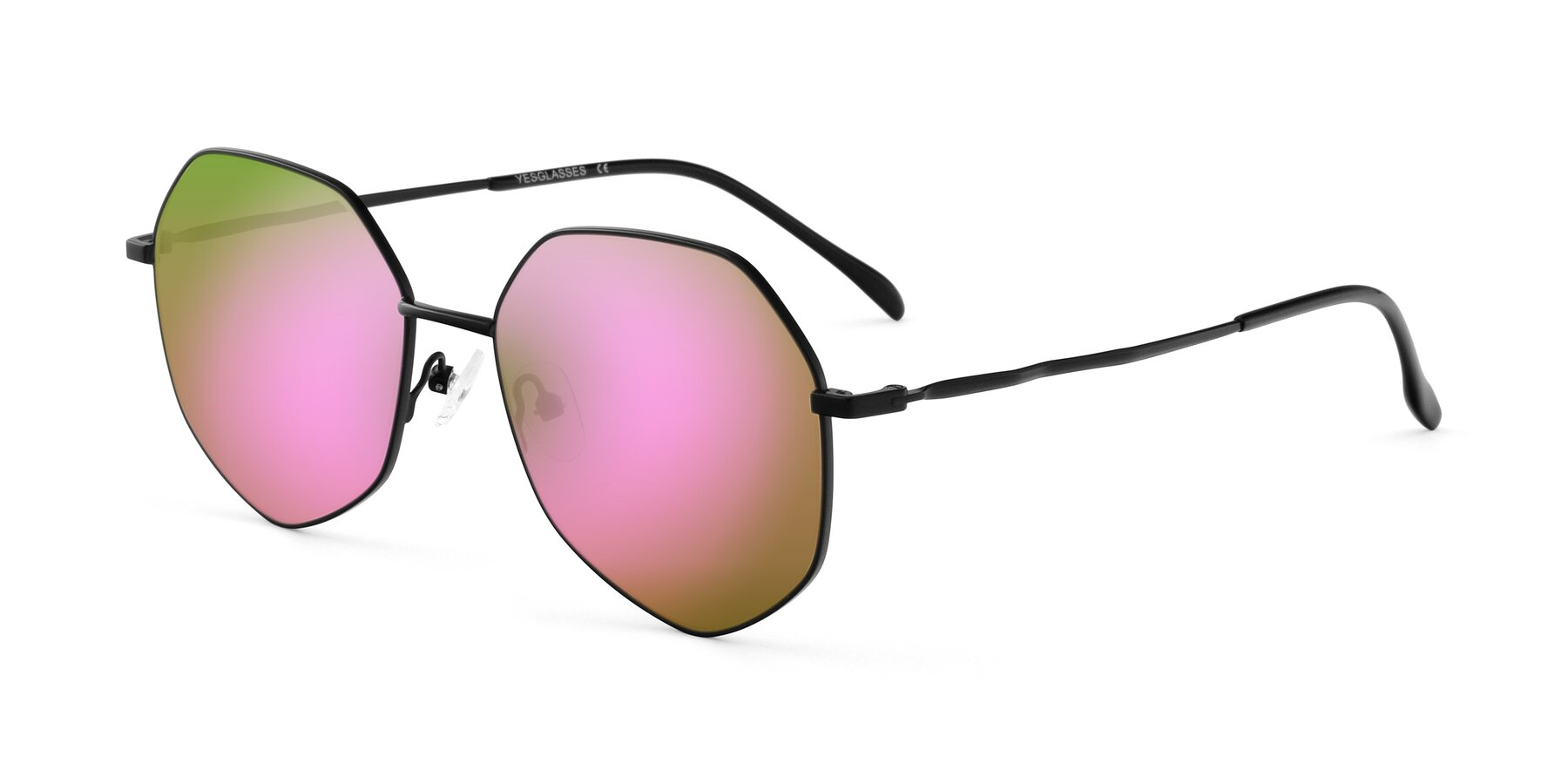 Angle of Sunshine in Black with Pink Mirrored Lenses