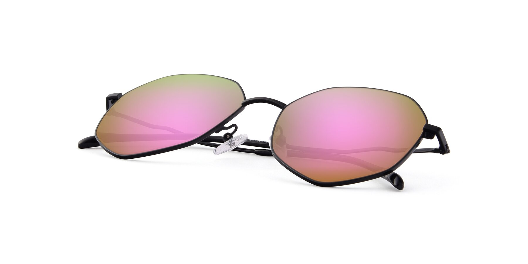 View of Sunshine in Black with Pink Mirrored Lenses