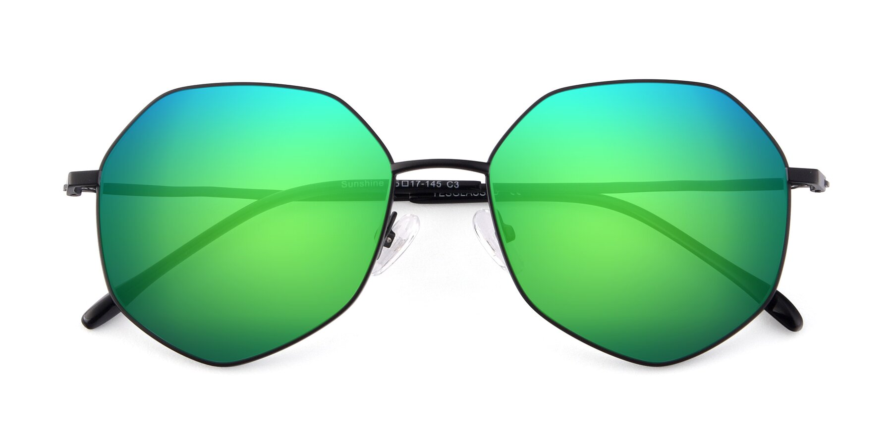 Folded Front of Sunshine in Black with Green Mirrored Lenses