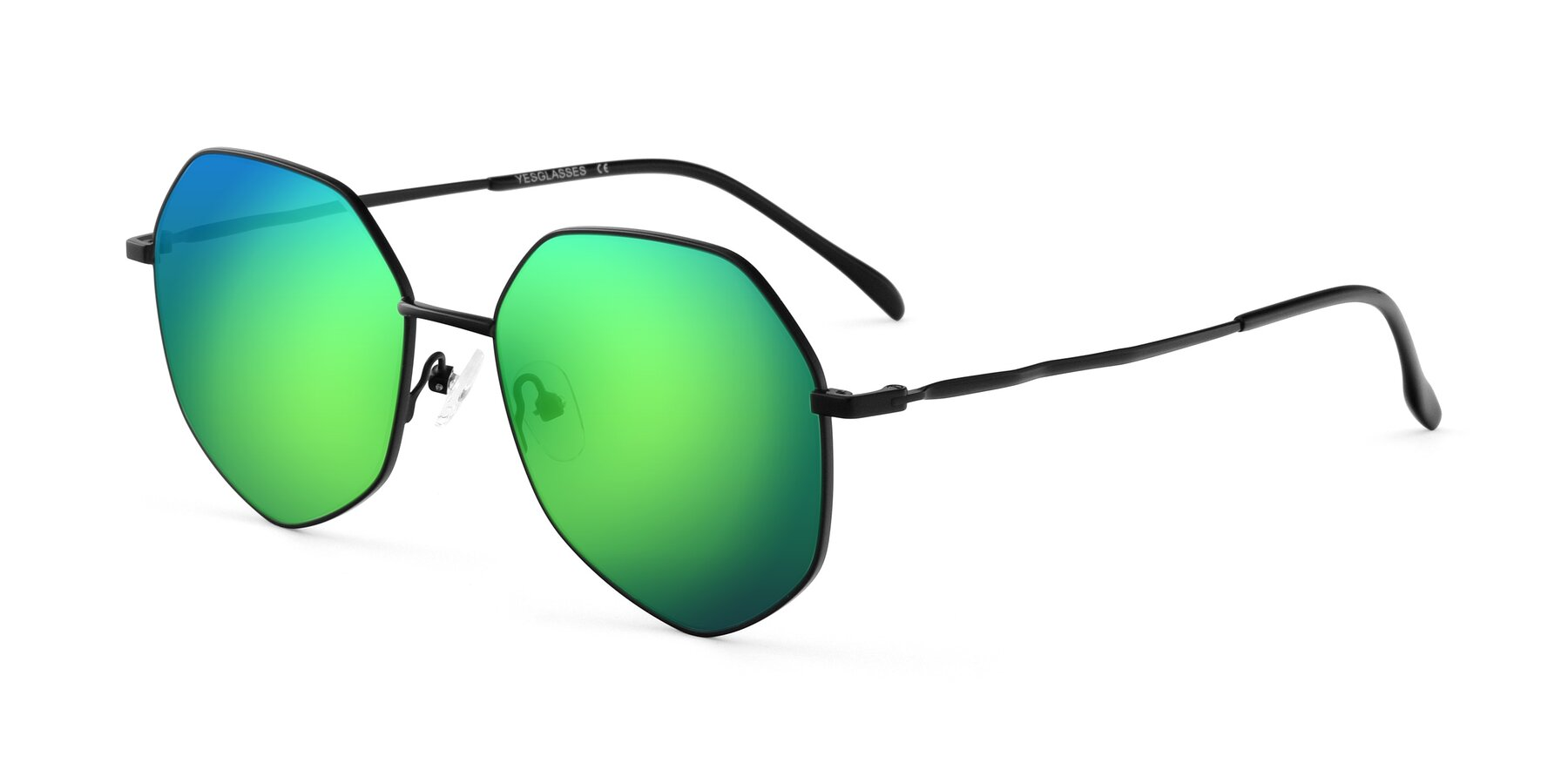 Angle of Sunshine in Black with Green Mirrored Lenses