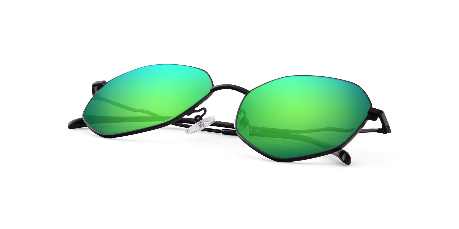 View of Sunshine in Black with Green Mirrored Lenses