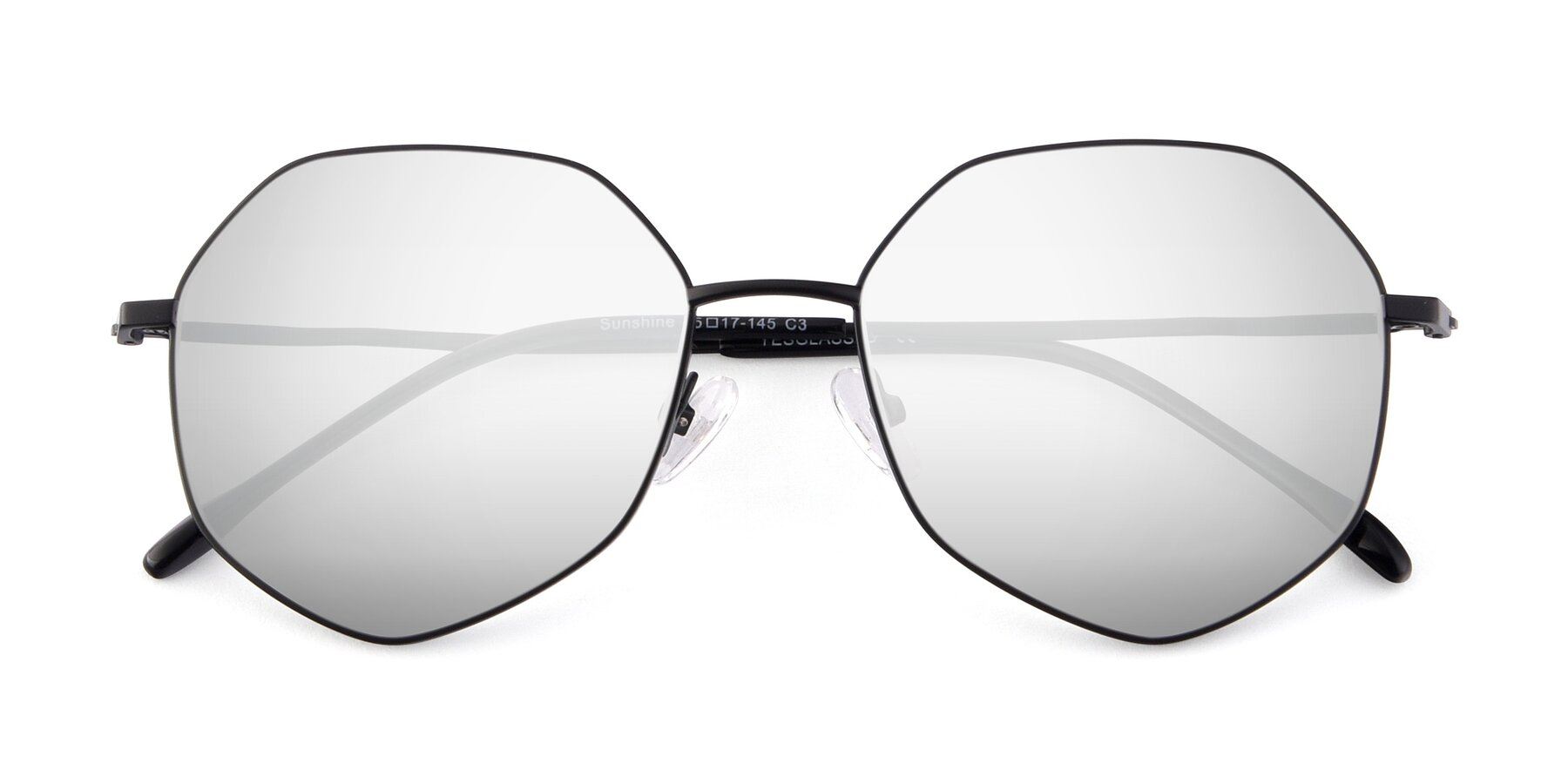 Folded Front of Sunshine in Black with Silver Mirrored Lenses