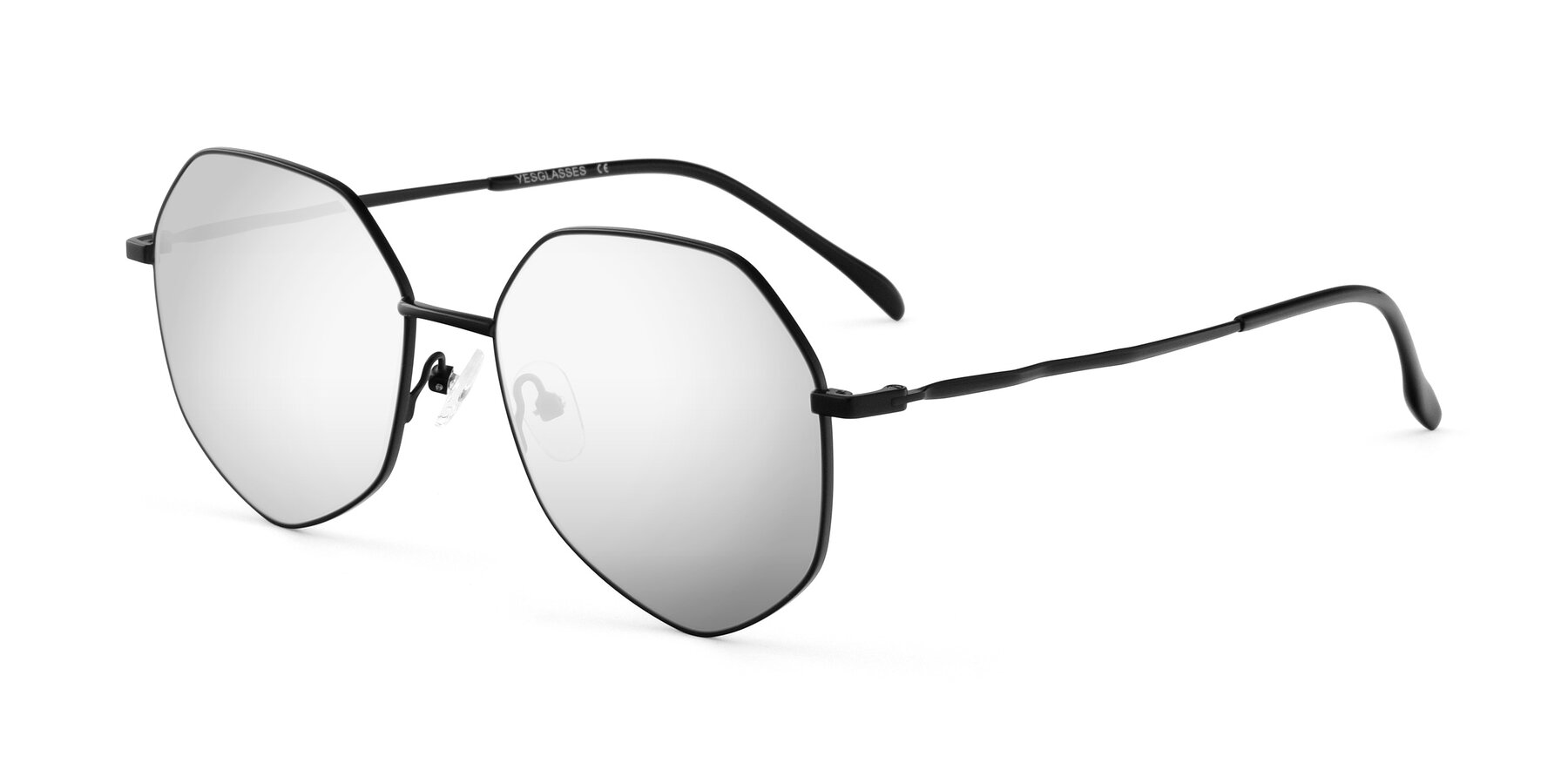 Angle of Sunshine in Black with Silver Mirrored Lenses