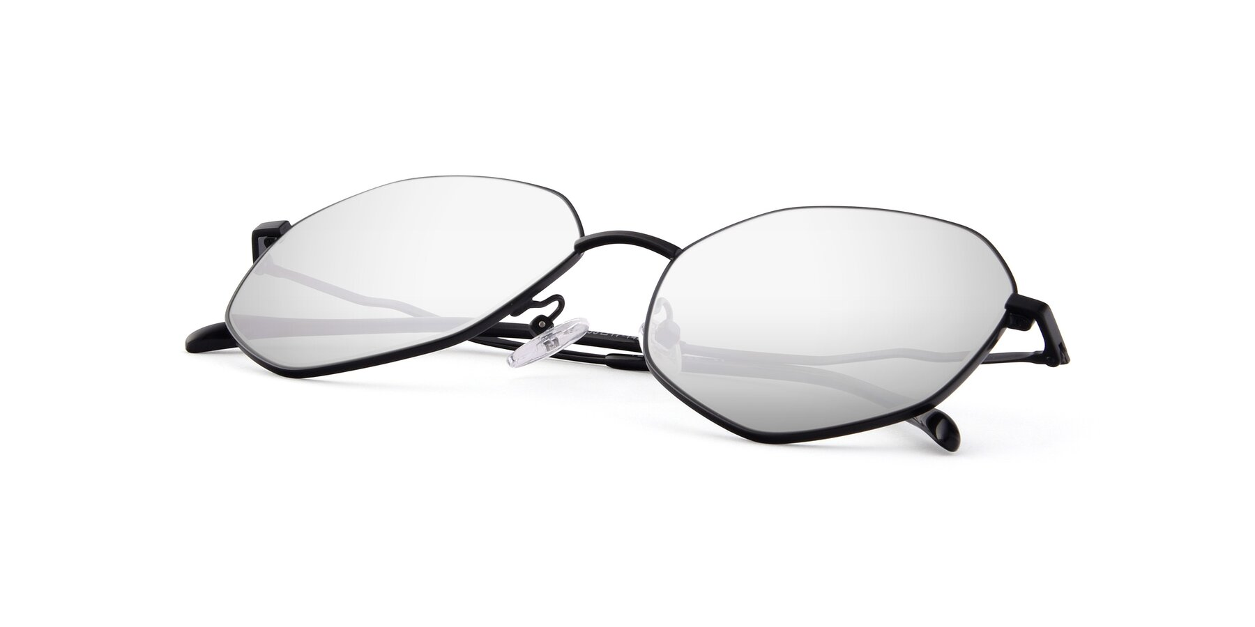 View of Sunshine in Black with Silver Mirrored Lenses