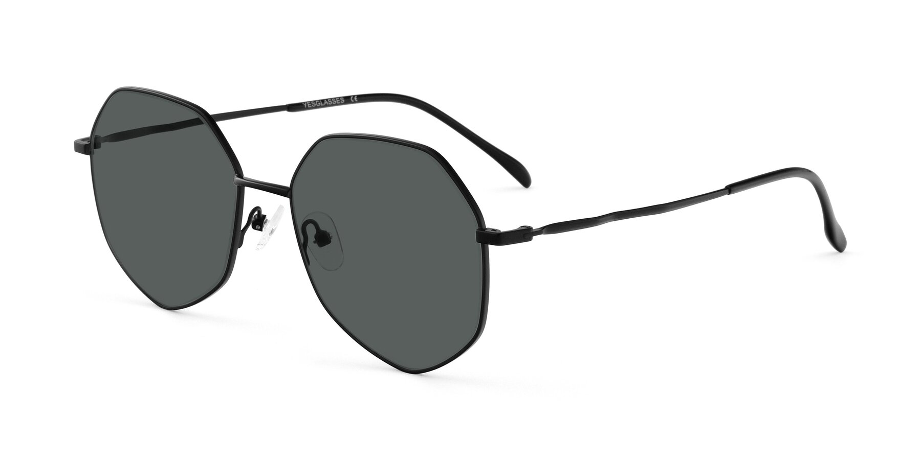 Angle of Sunshine in Black with Gray Polarized Lenses