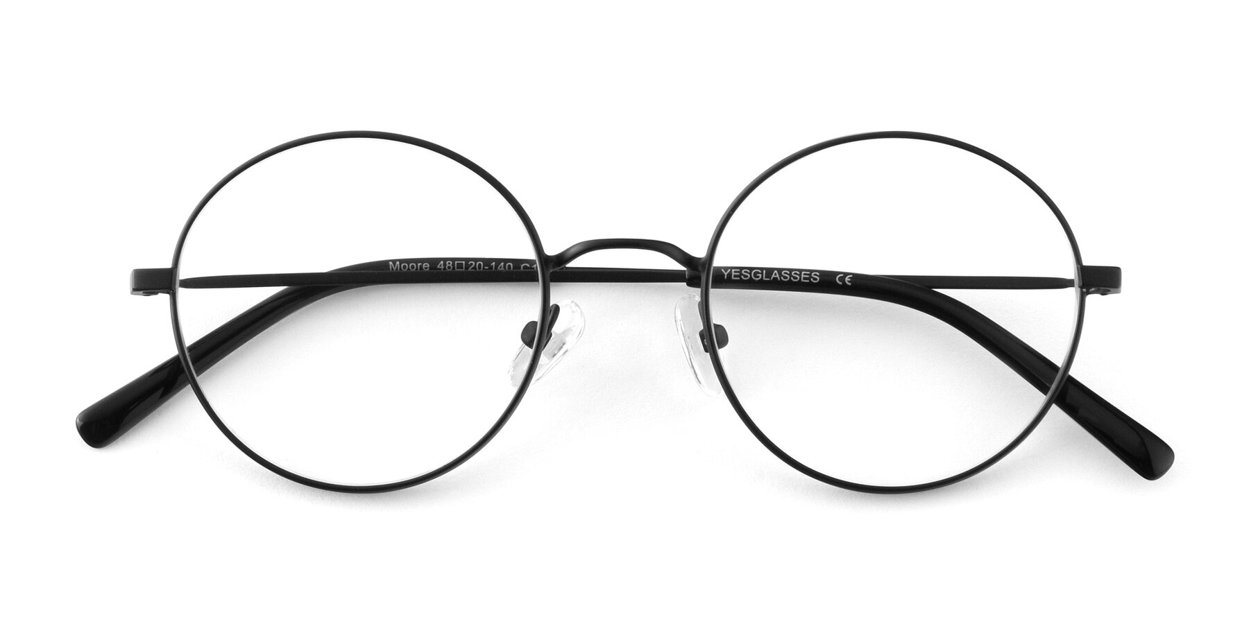 Folded Front of Moore in Black with Clear Blue Light Blocking Lenses