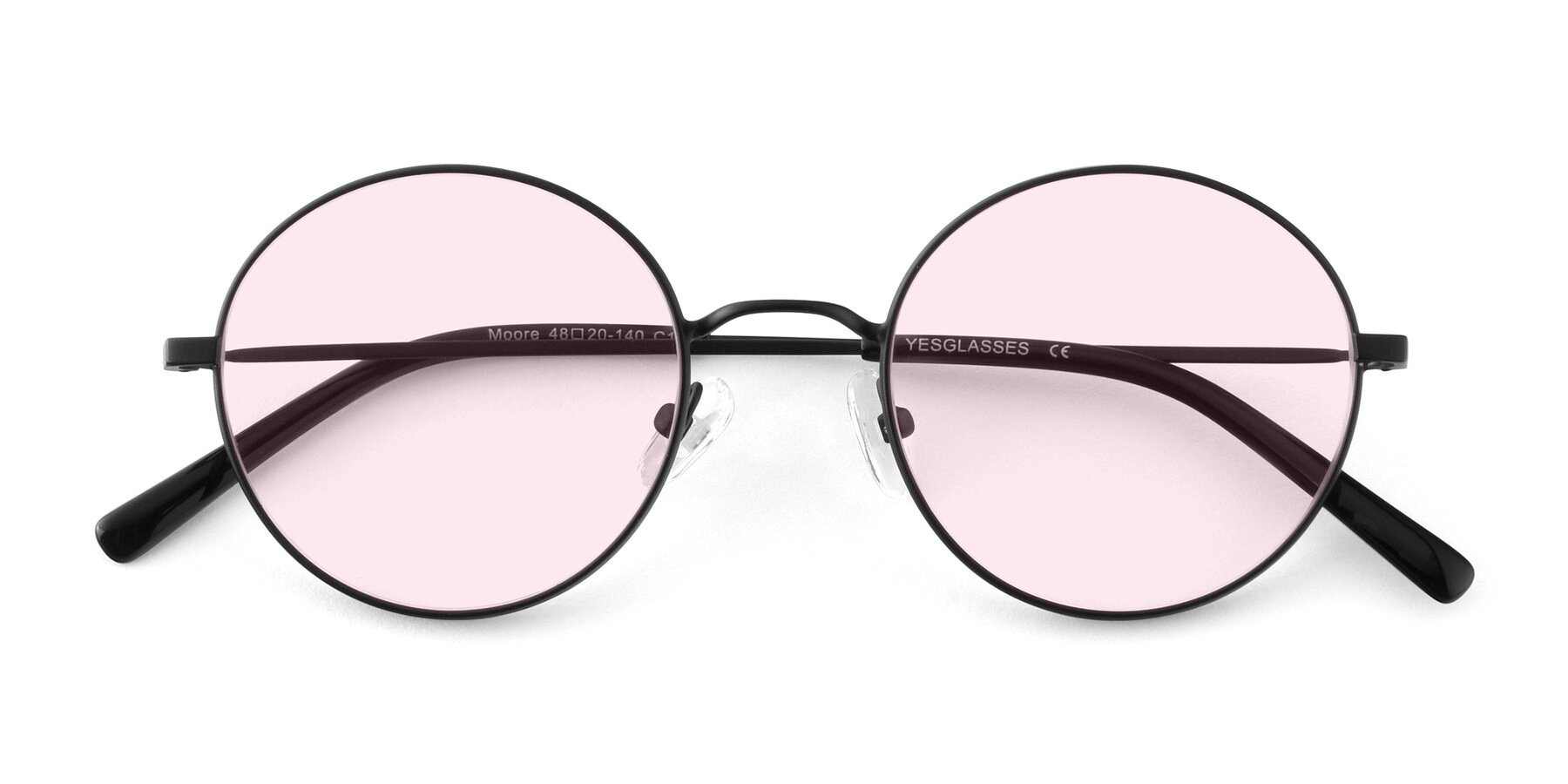 Folded Front of Moore in Black with Light Pink Tinted Lenses