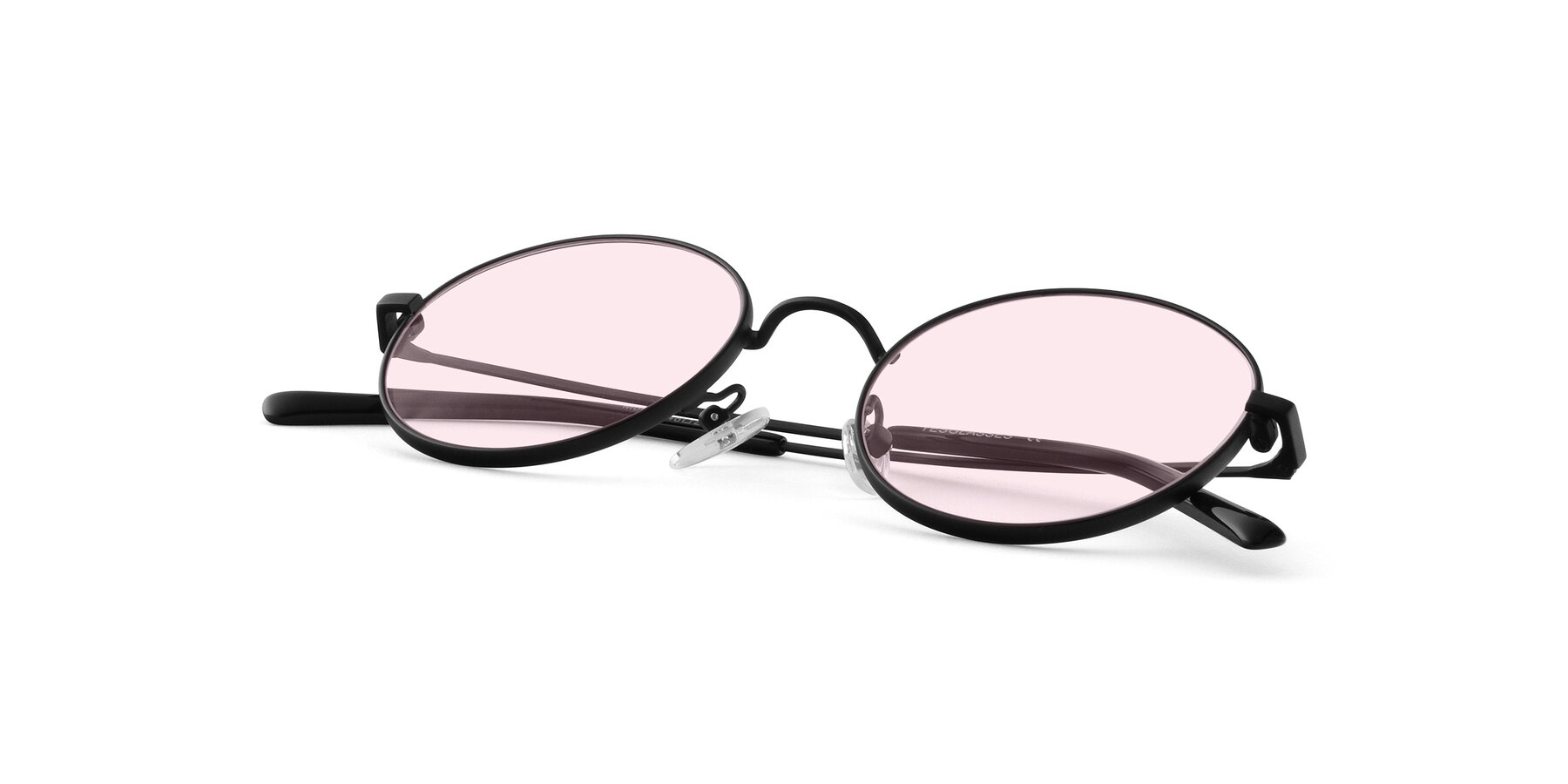 View of Moore in Black with Light Pink Tinted Lenses