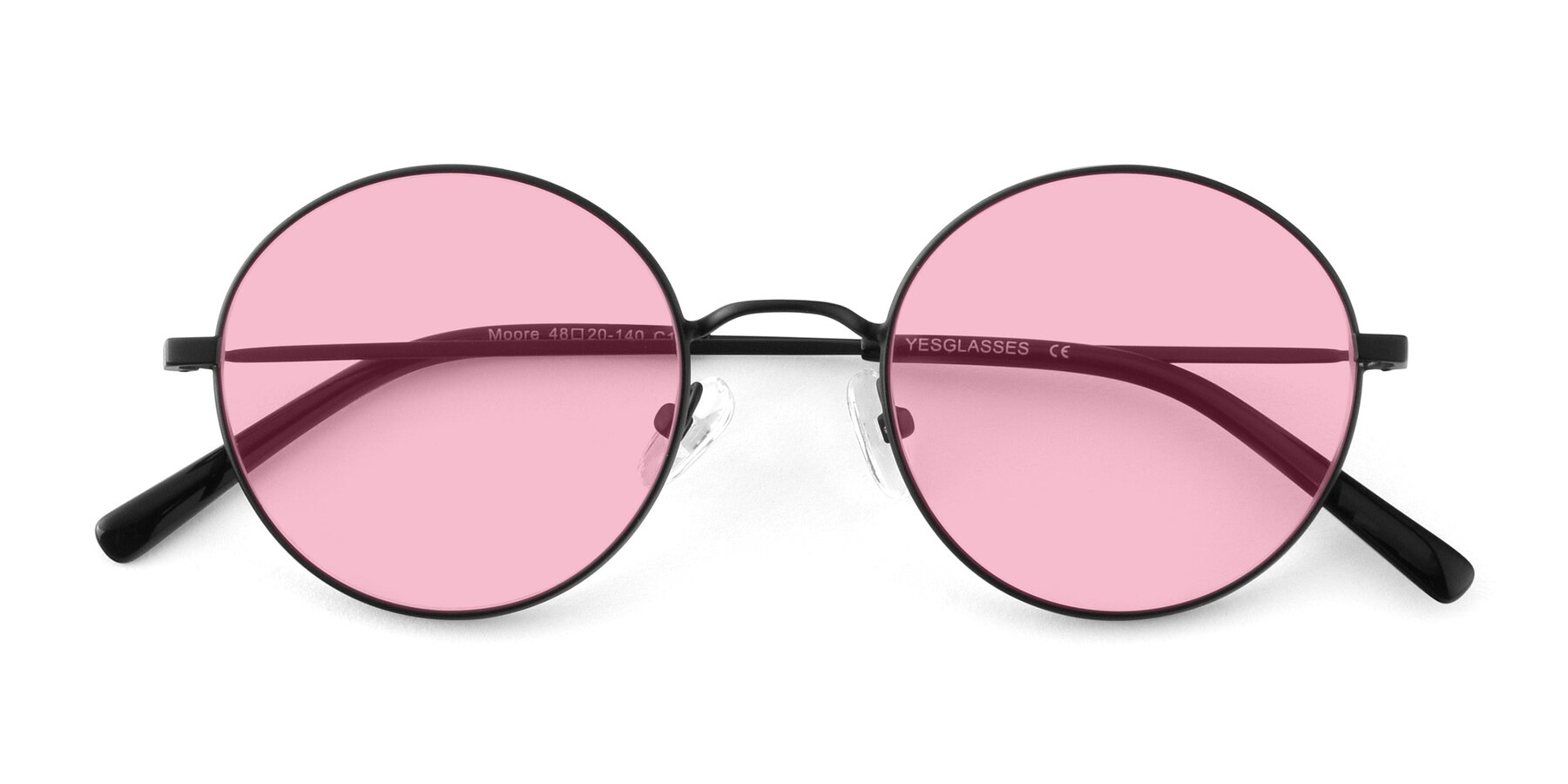 Folded Front of Moore in Black with Medium Pink Tinted Lenses