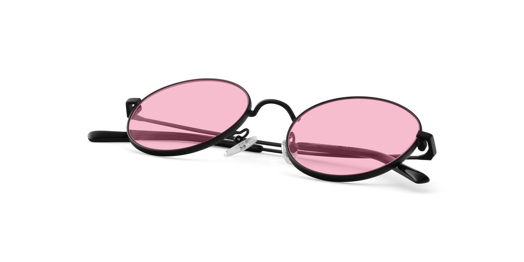 View of Moore in Black with Medium Pink Tinted Lenses