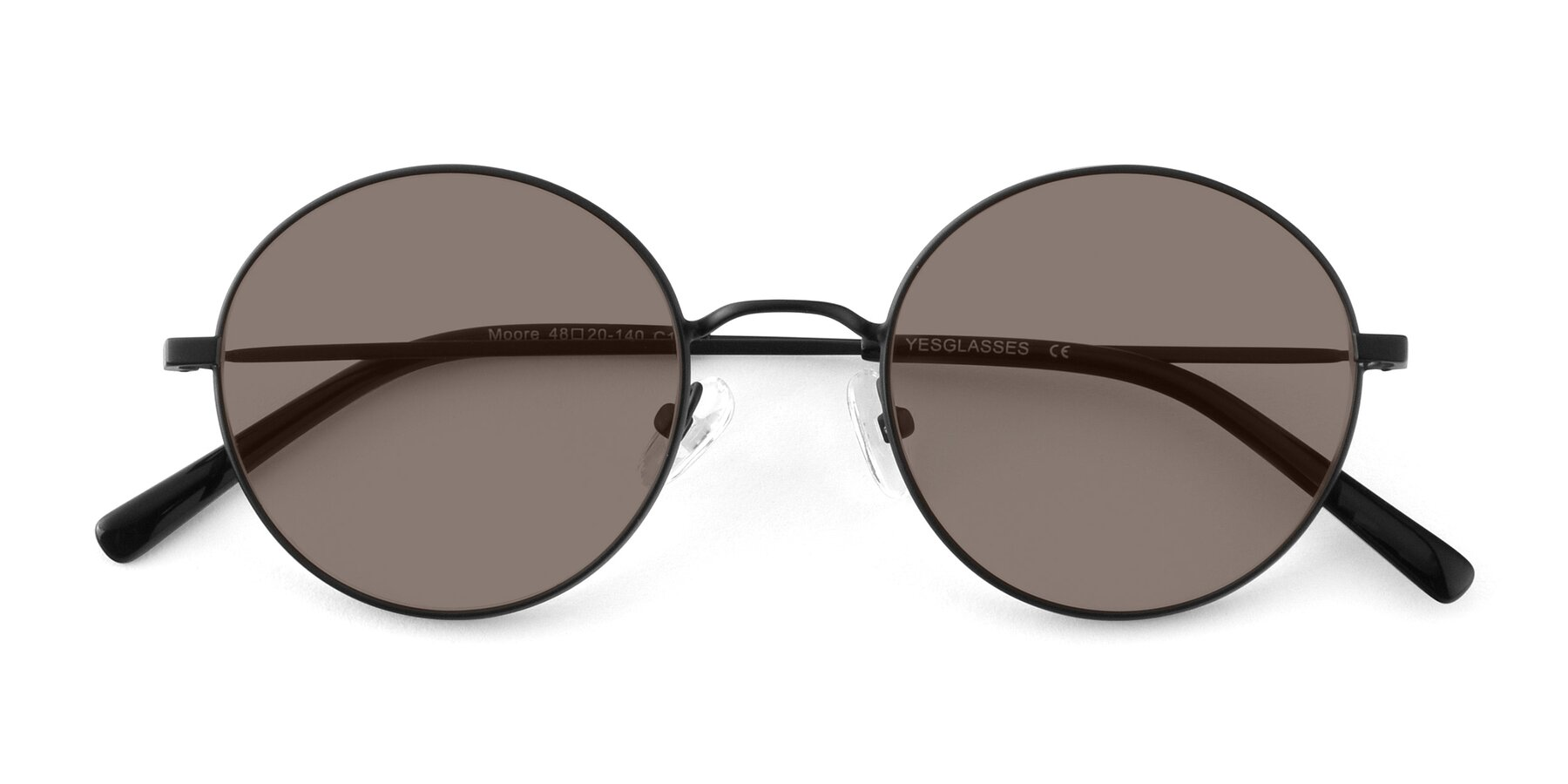 Folded Front of Moore in Black with Medium Brown Tinted Lenses