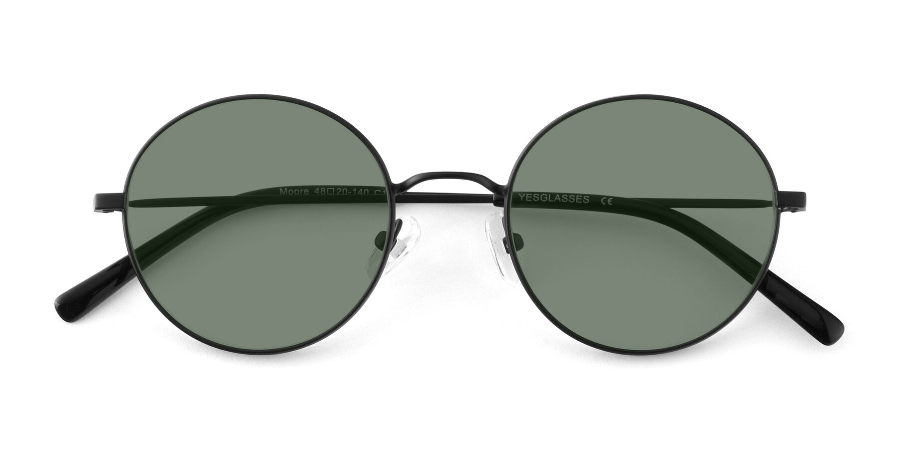 Folded Front of Moore in Black with Medium Green Tinted Lenses