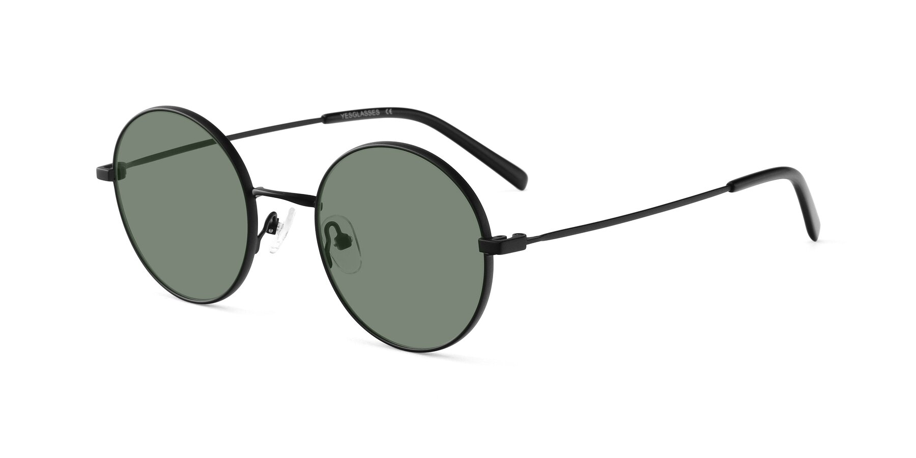 Angle of Moore in Black with Medium Green Tinted Lenses