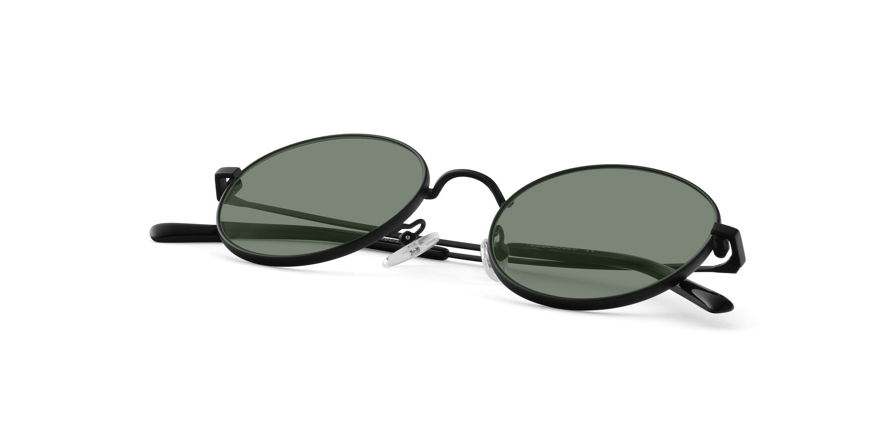View of Moore in Black with Medium Green Tinted Lenses
