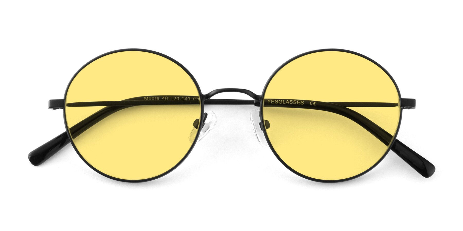 Folded Front of Moore in Black with Medium Yellow Tinted Lenses