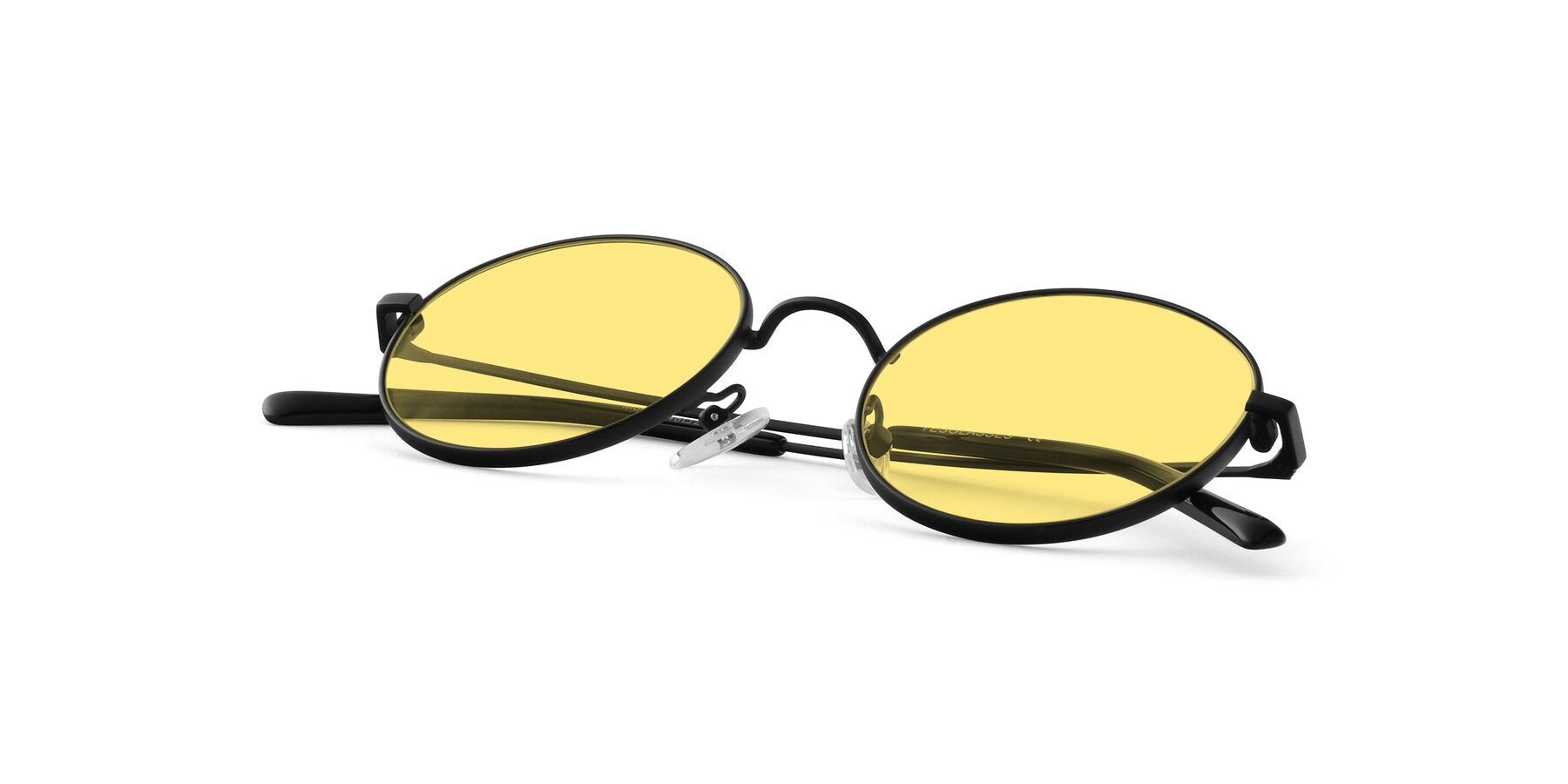 View of Moore in Black with Medium Yellow Tinted Lenses