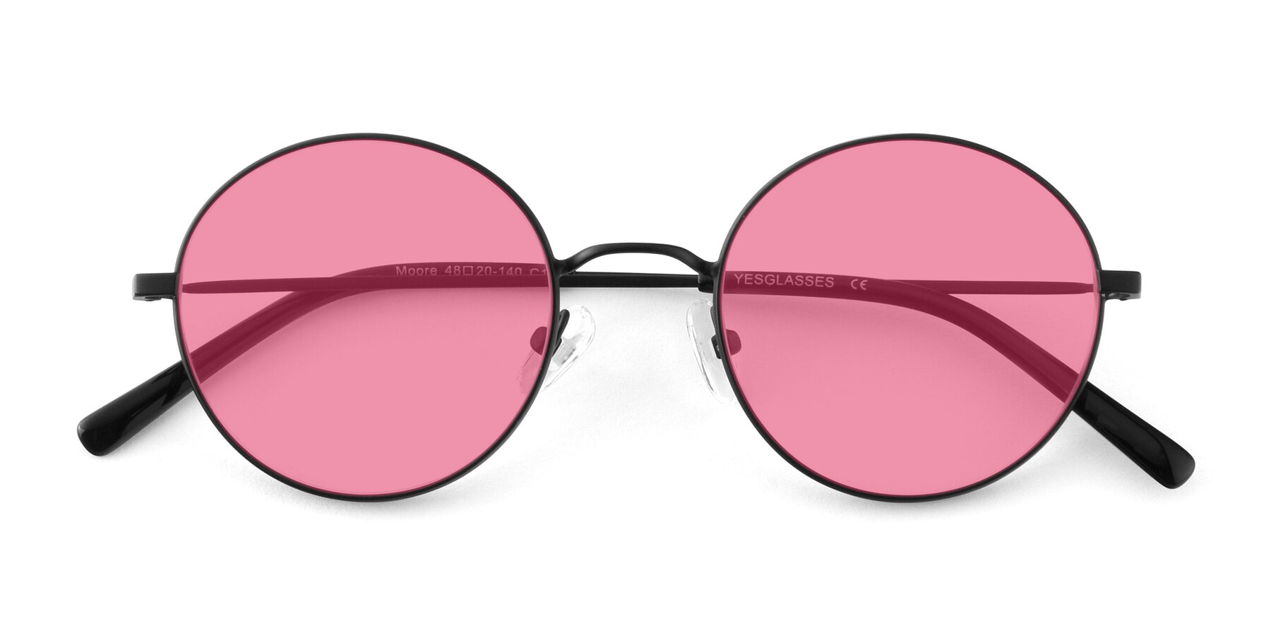 Folded Front of Moore in Black with Pink Tinted Lenses