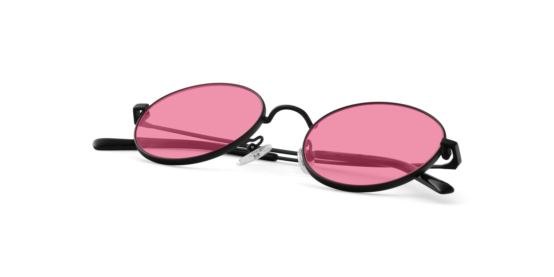 View of Moore in Black with Pink Tinted Lenses