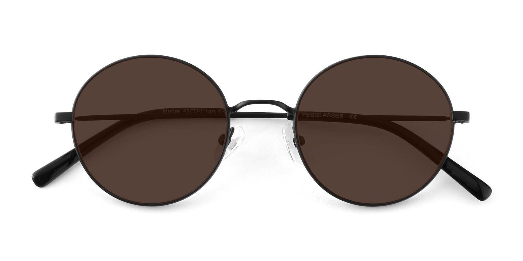 Folded Front of Moore in Black with Brown Tinted Lenses