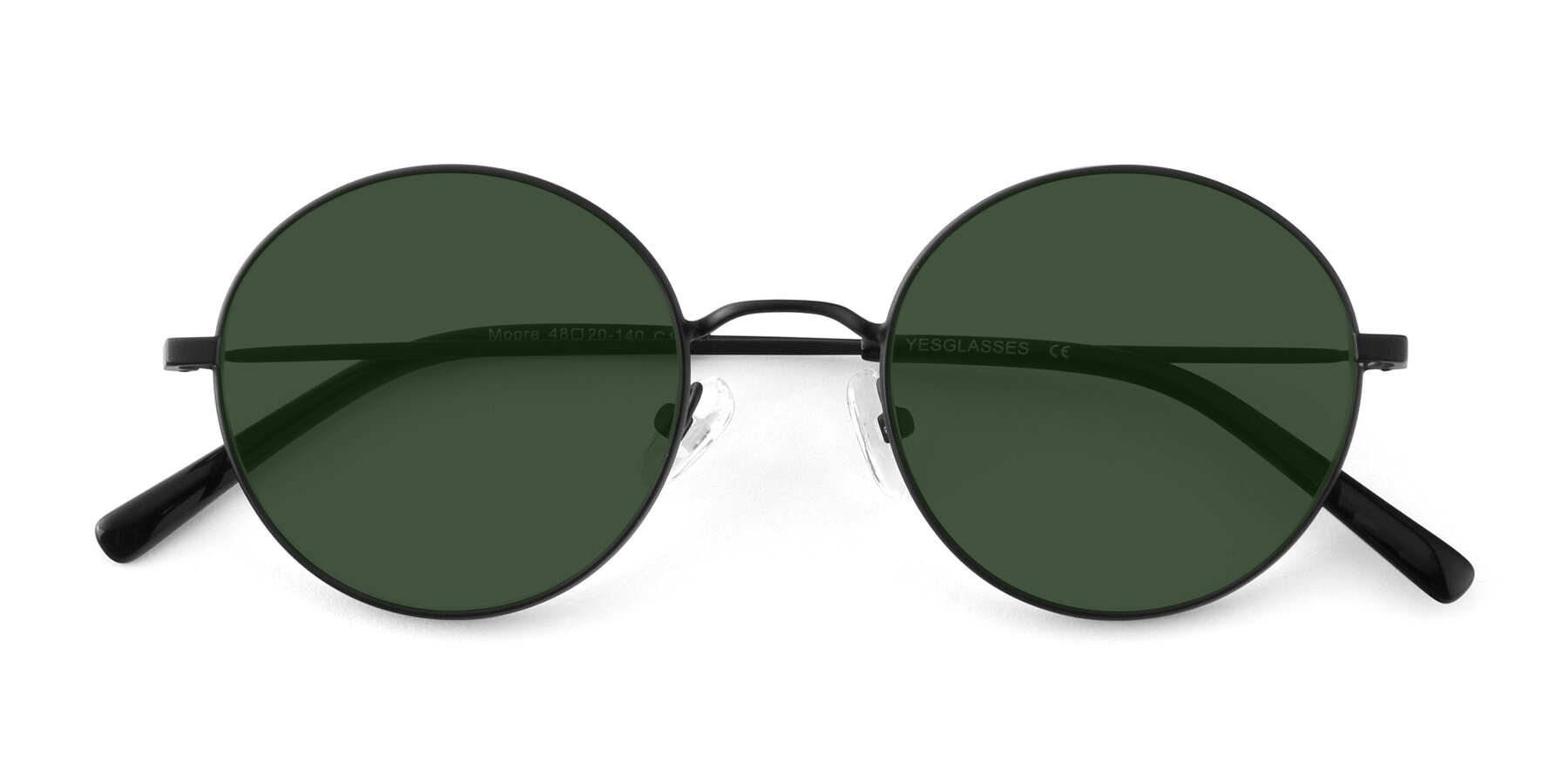 Folded Front of Moore in Black with Green Tinted Lenses
