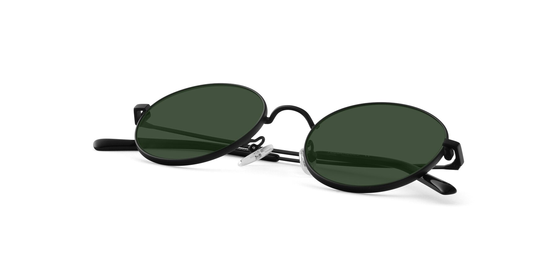 View of Moore in Black with Green Tinted Lenses